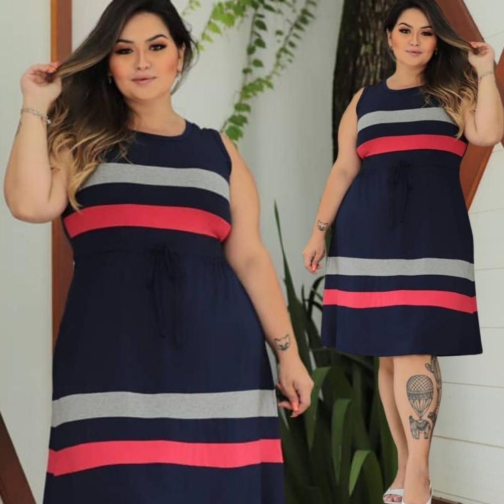 Vestido Feminino em Malha Plus Size
