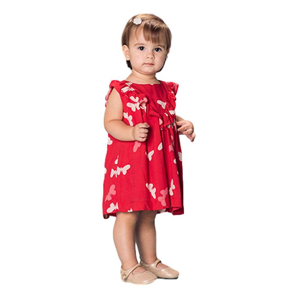 Vestido Bebê Menina Borboletas Vermelho