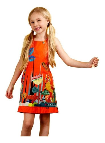 Vestido Infantil Barrado Bichinhos Laranja
