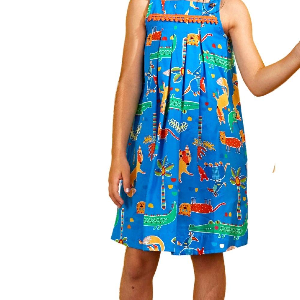 Vestido Infantil Bichinhos Azul