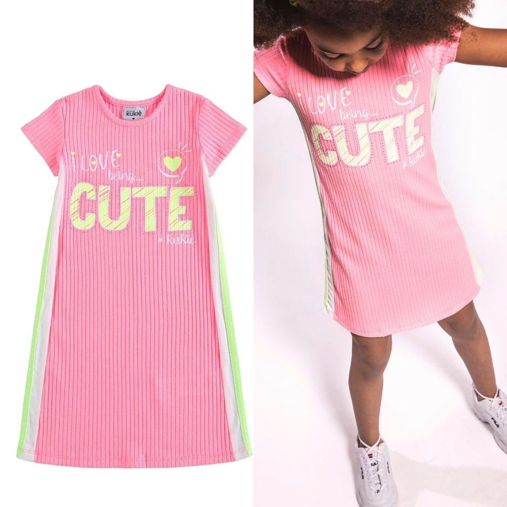 Vestido Infantil Canelado Eu Amo Ser Cute