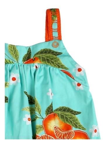 Vestido Infantil de Alças Flores e Frutas