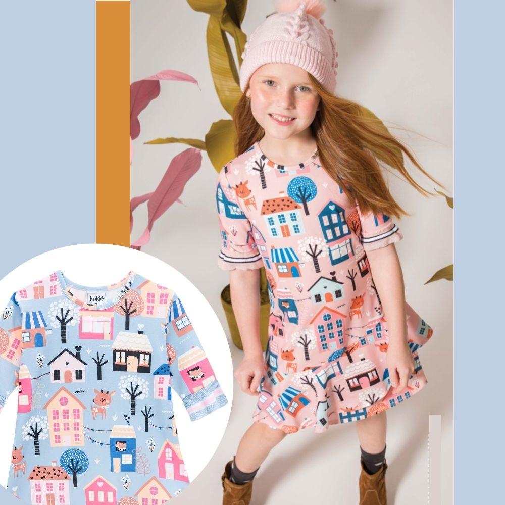 Vestido Infantil Estampado Babados Brincando com Casinhas