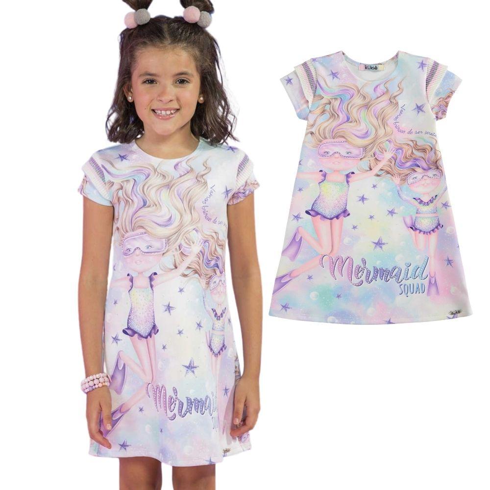 Vestido Infantil Estampado Brincando de Sereia