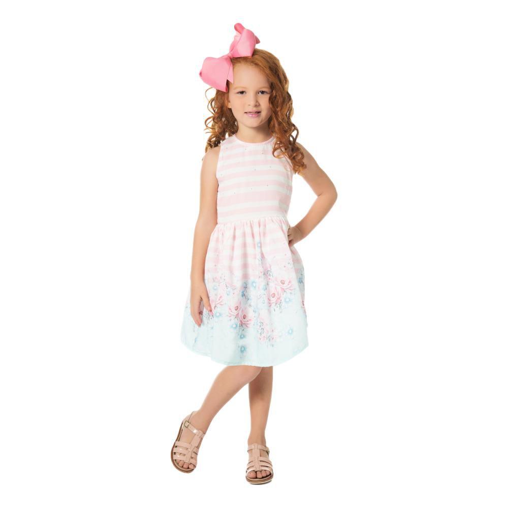 Vestido Infantil  Estampado Rosa Claro