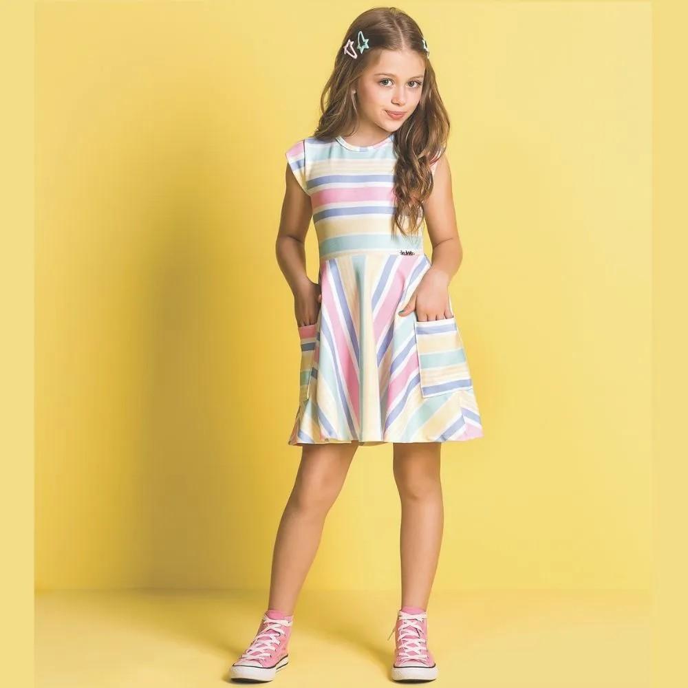 Vestido Infantil Listras Arco Iris