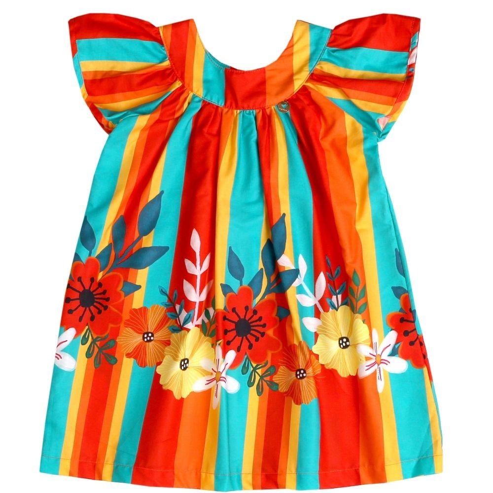 Vestido Infantil Listras e Flores Precoce