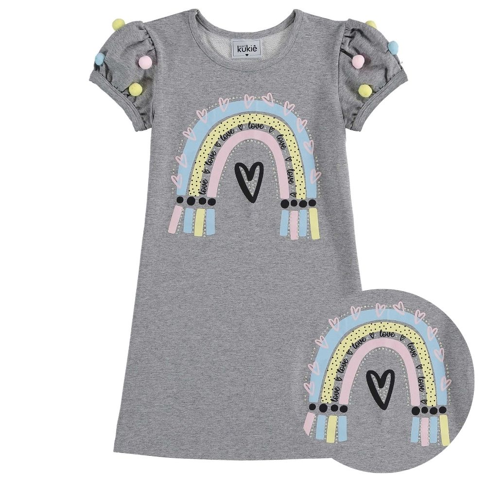 Vestido Infantil Love e Arco-íris