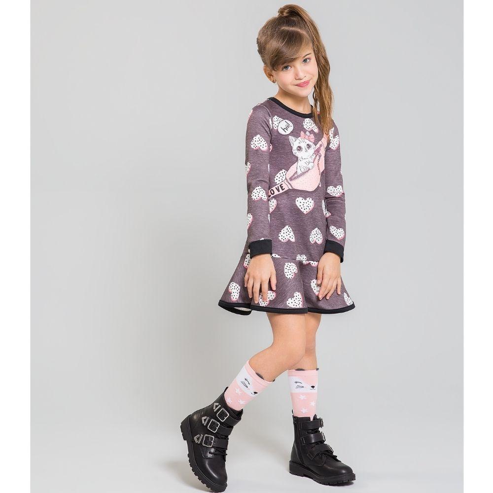 Vestido Infantil Manga Longa Fashion Cute Gats