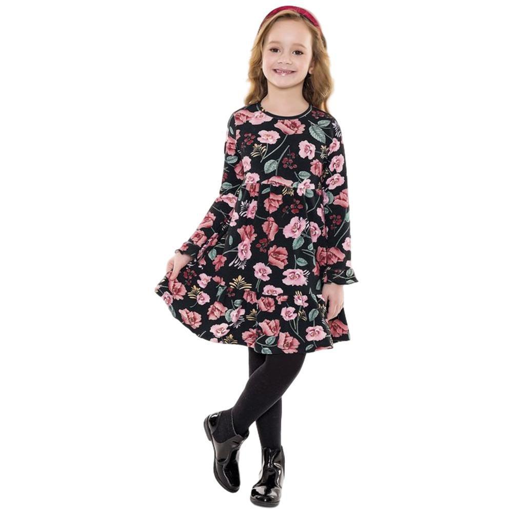 Vestido Infantil Manga Longa Preto