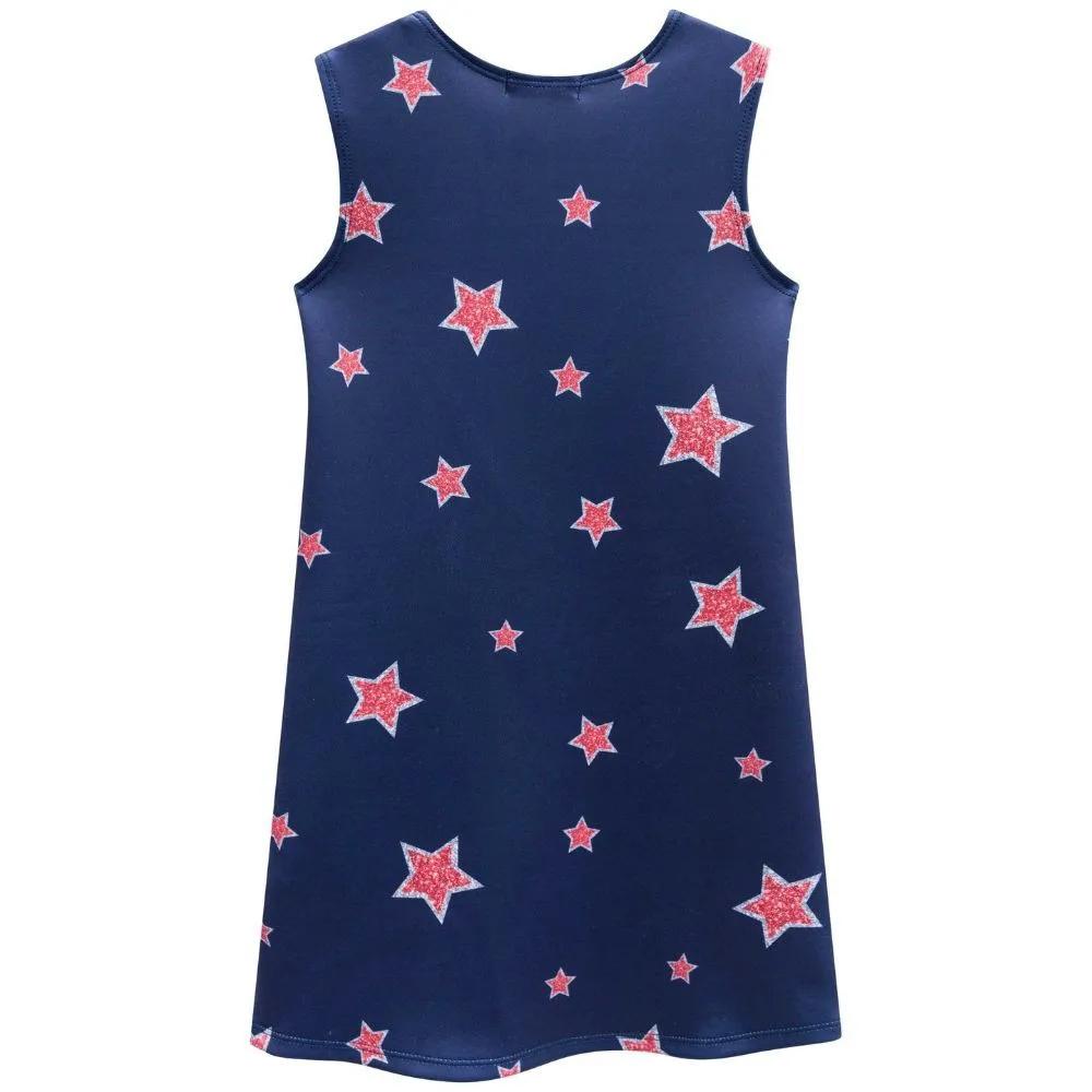 Vestido Infantil Regata Estrelas Azul Marinho