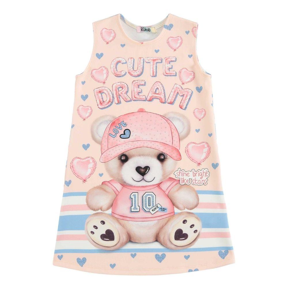 Vestido Infantil Regata Ursinho Cute Dream