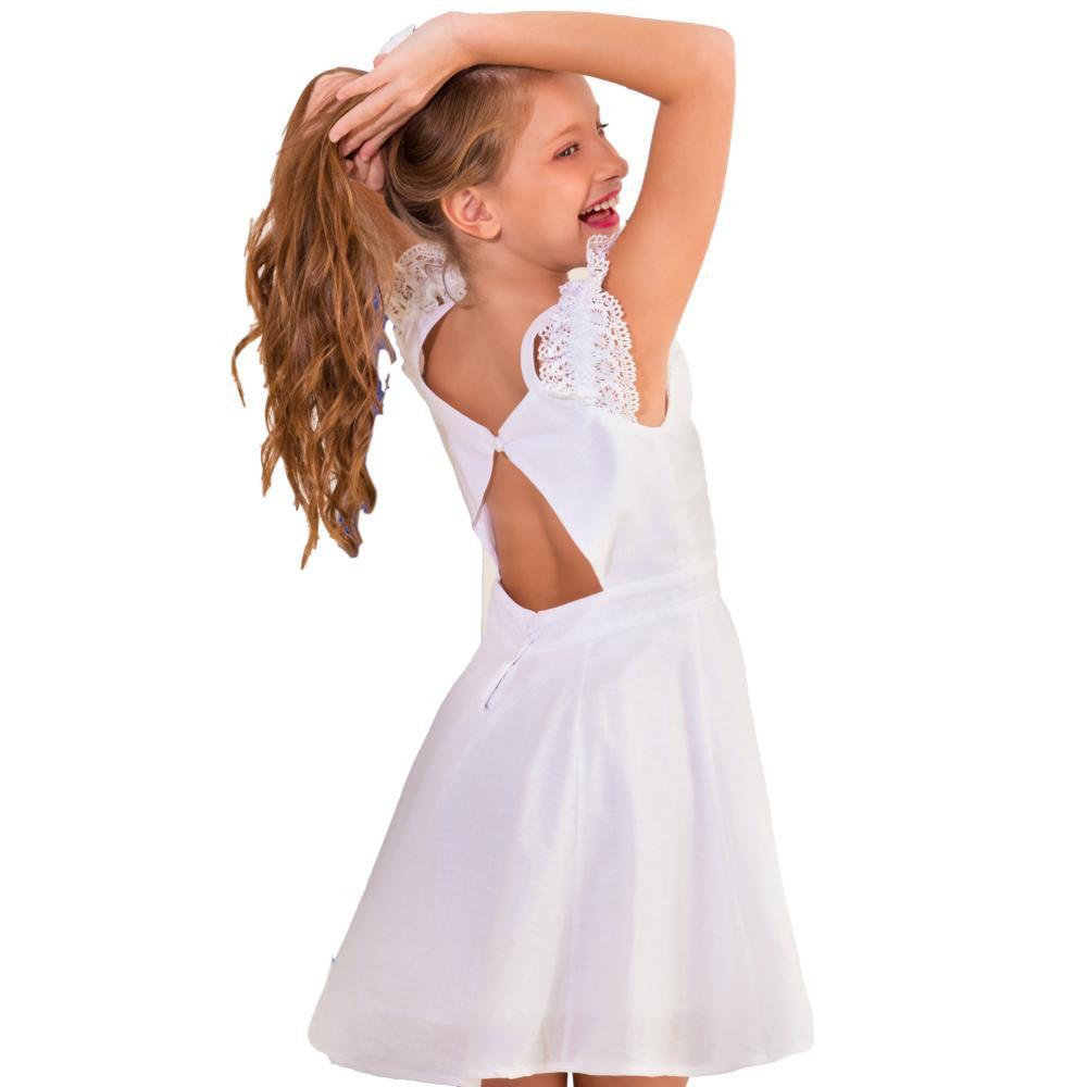 Vestido Infantil Renda -Branco