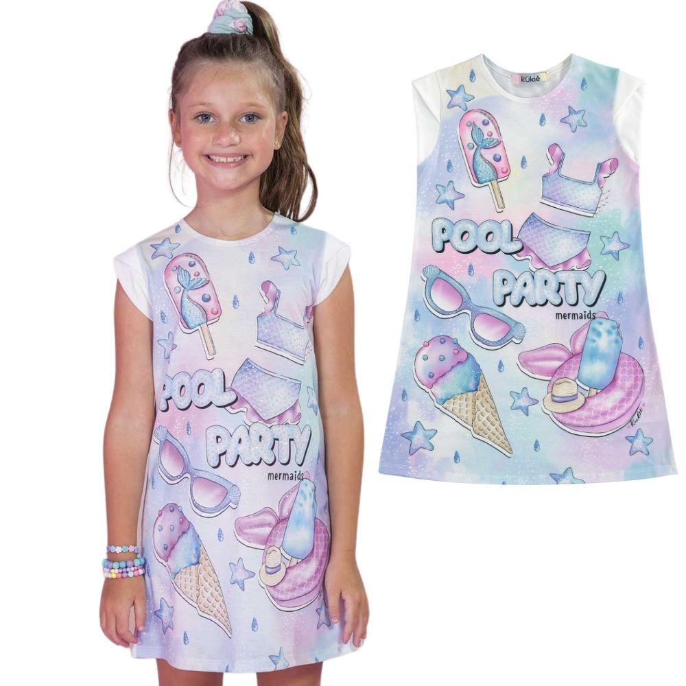 Vestido Infantil Tie-Dye Manga Curta Festa das Sereias