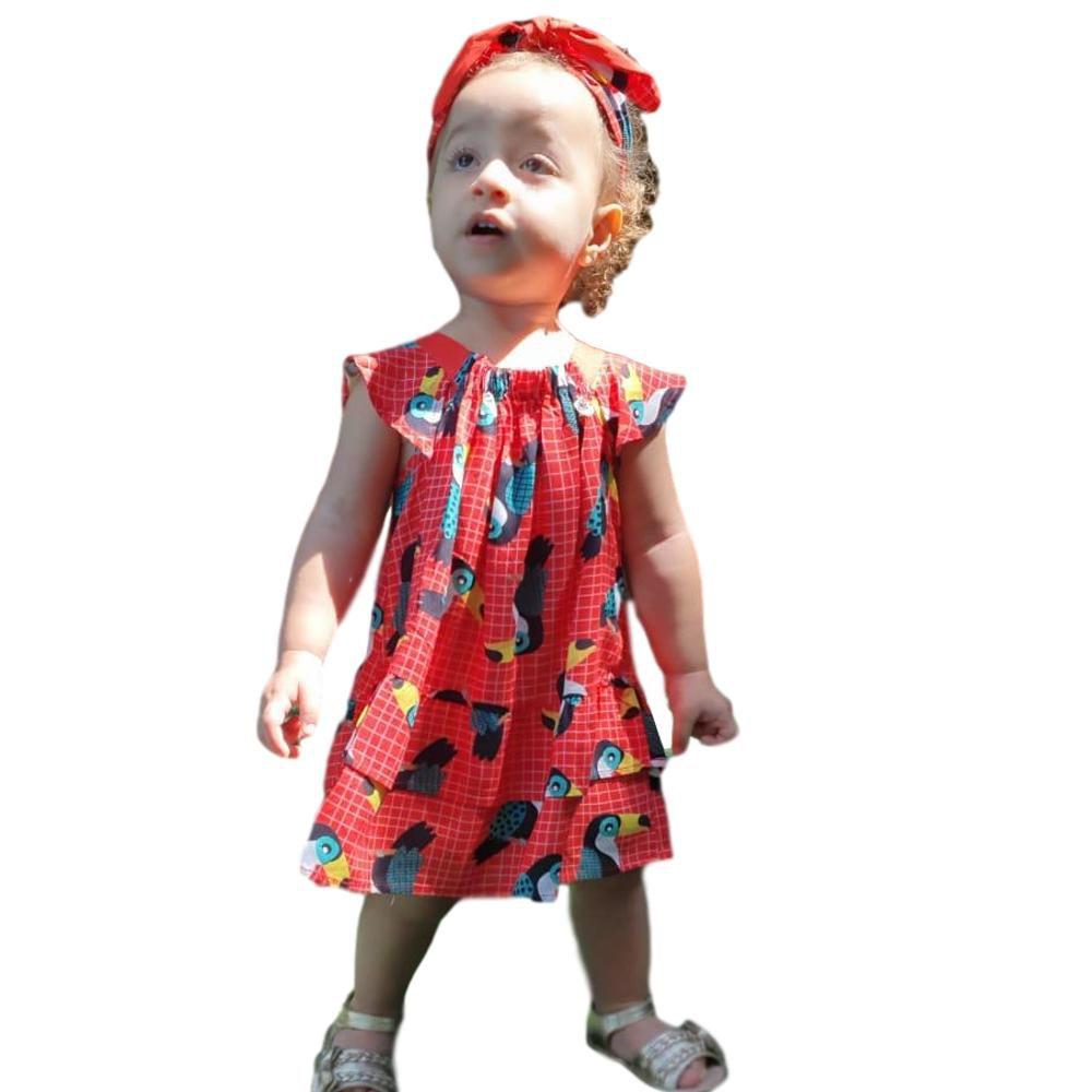 Vestido Menina Babado Tucano Vermelho