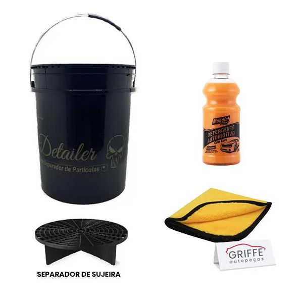 Kit Limpeza Automotiva Profissional (Balde + Flanela + Separador de Sujeira + Detergente)
