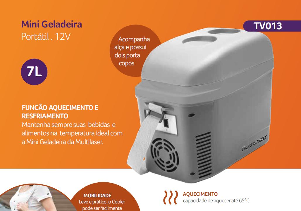 Mini Geladeira/Cooler 7L Cinza Fosco 12V com Porta Copos e Alça - TV013