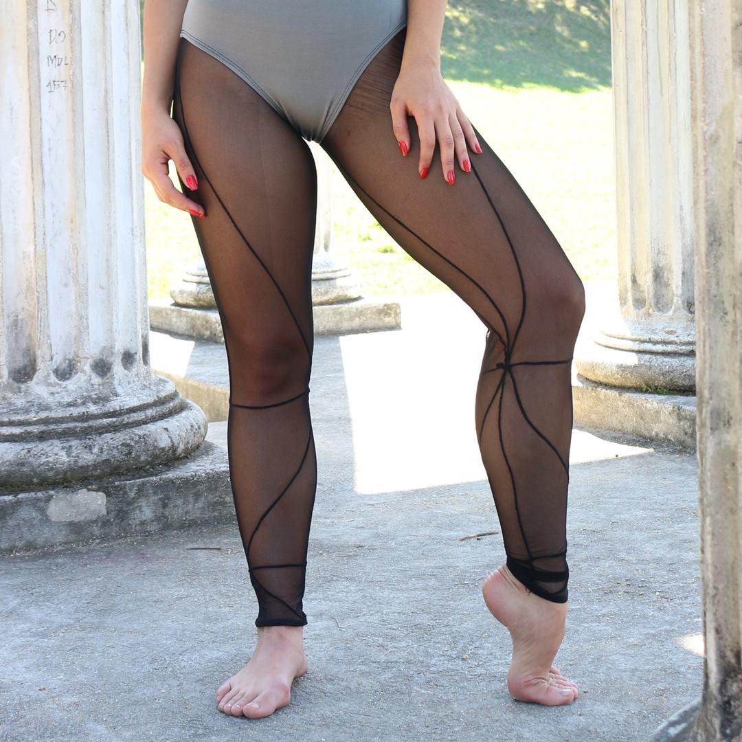 Meia Legging Recorte Tule