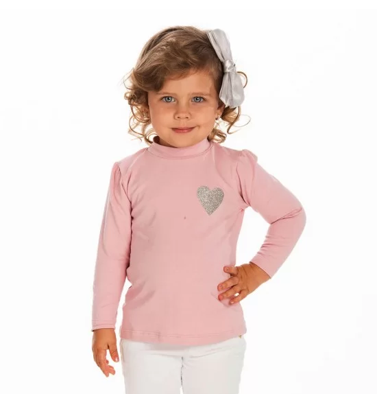 Blusa Infantil Gola Alta Coração-Ollelê Little