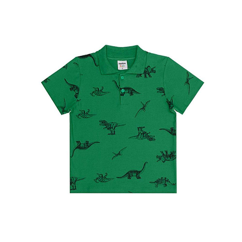 Blusa Infantil Polo Piquêt- Dinossauro - Rovitex Kids