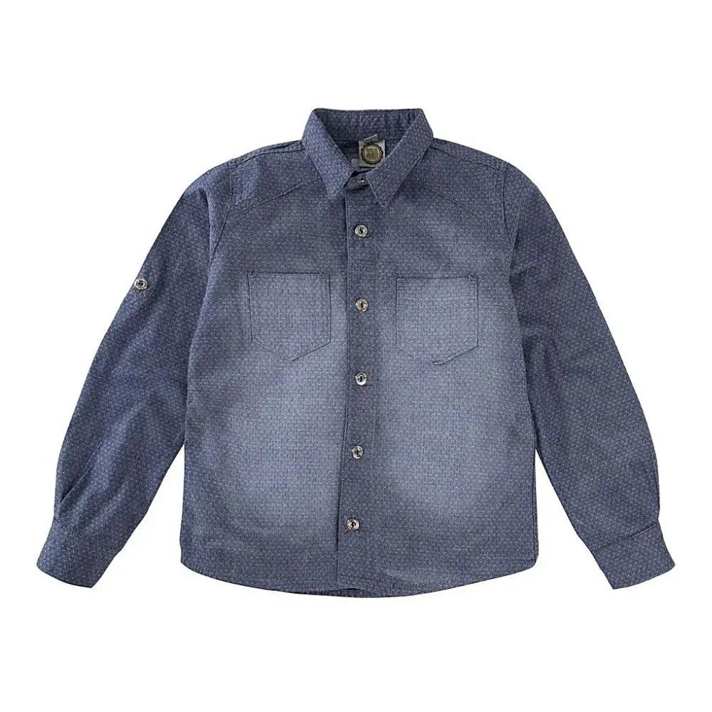 Camisa Infantil Jeans Maquinetada- Via Onix
