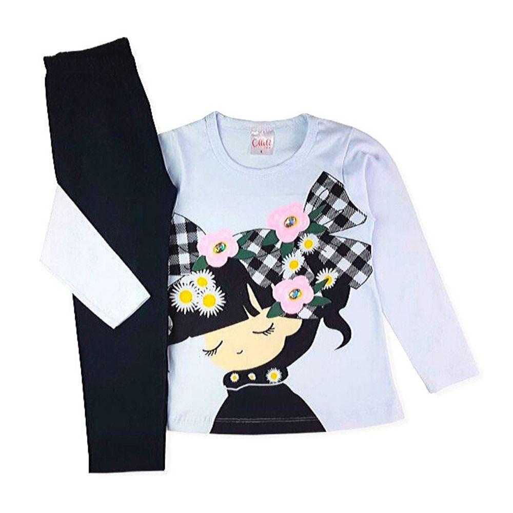 Conjunto Infantil Cotton Boneca Flores-Ollelê Little