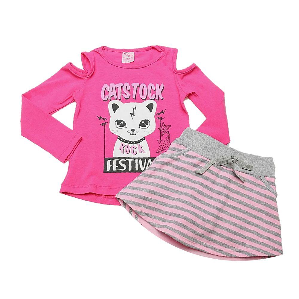 Conjunto Infantil short/saia Festival-For Girl