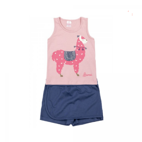 Conjunto Infantil Short/Saia Lhama- Ollelê Little