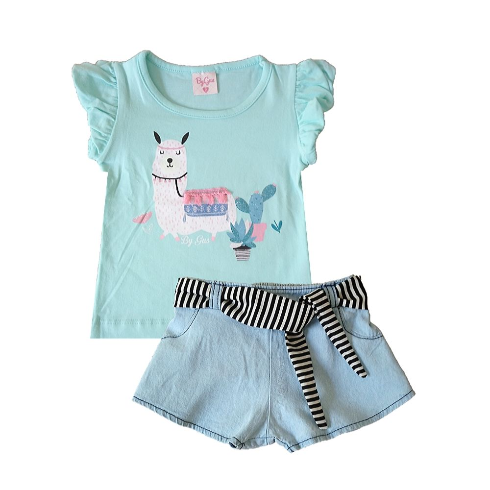Conjunto Infantil Jeans Lhama- By Gus