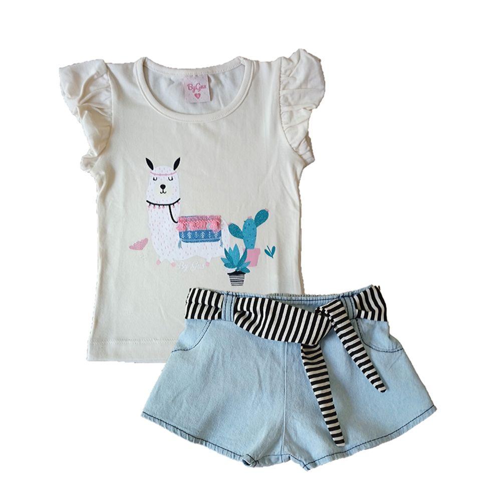 Conjunto Infantil Jeans Lhama- By Gus