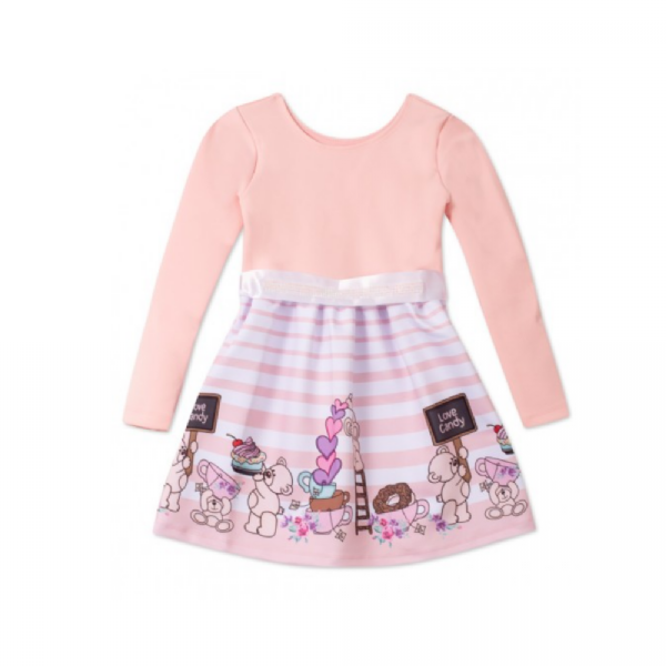 Vestido de Inverno Infantil Ursinho Candy-By Gus