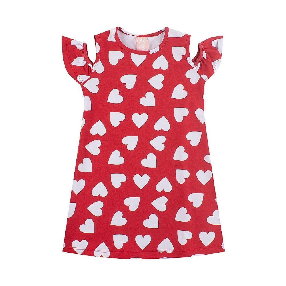 Vestido Infantil Corações - Ollelê