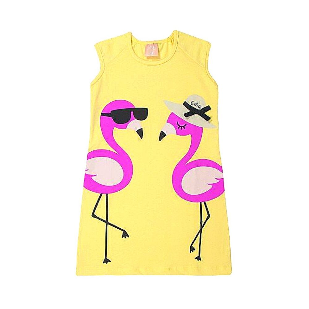 Vestido Infantil Flamingos Neon - Ollelê