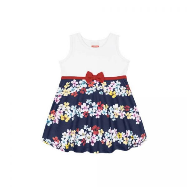 Vestido Infantil Flores e Laço Branco - Marlan