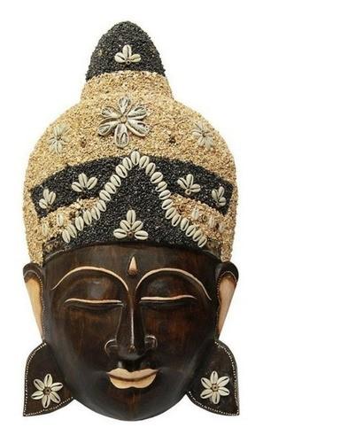 Face de Buda Entalhada na Madeira 25 Cm