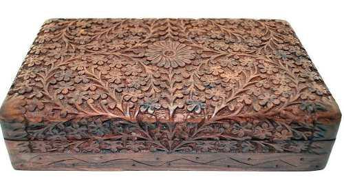 Caixa Decorativa Indiana De Madeira