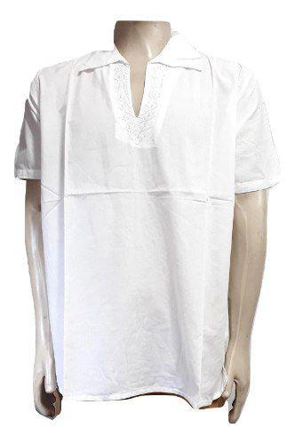 Bata Branca Masculina Manga Curta Gola Polo
