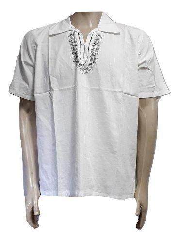 Bata Masculina Branca Manga Curta Bordada