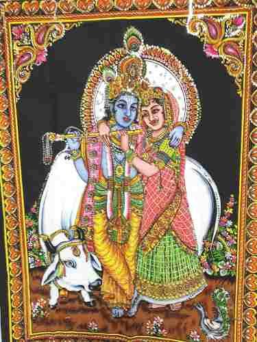 Painel De Tecido Krishna E Radha
