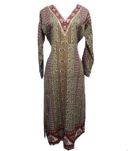 Vestido Indiano Longo Estampado Manga Longa
