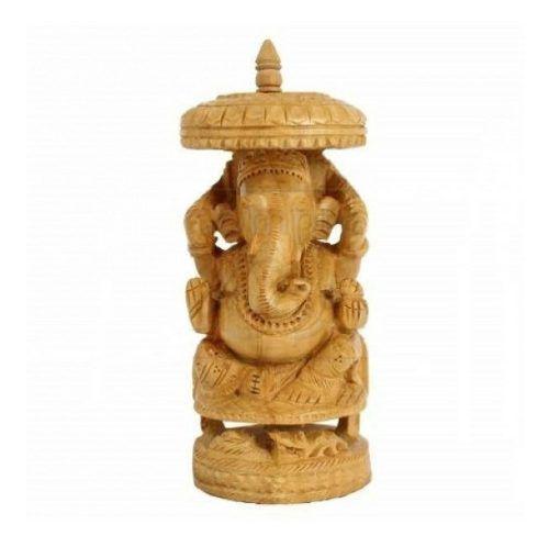 Estátua De Ganesha Feita De Madeira