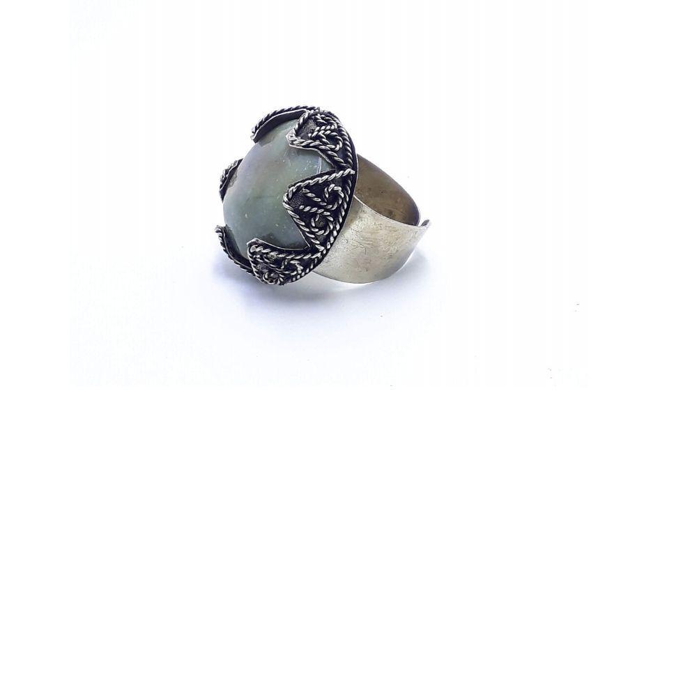 Anel Indiano com Pedra Ágata Regulável