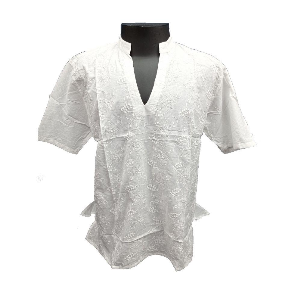 Bata Masculina Branca de Manga Curta