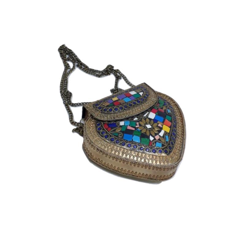 Bolsa Indiana Com Mosaico e Metal Opaca