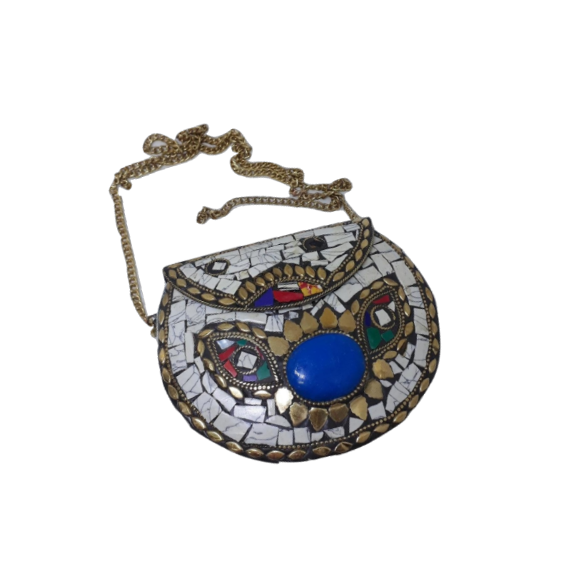 Bolsa Indiana de Metal Opaca e Mosaicos