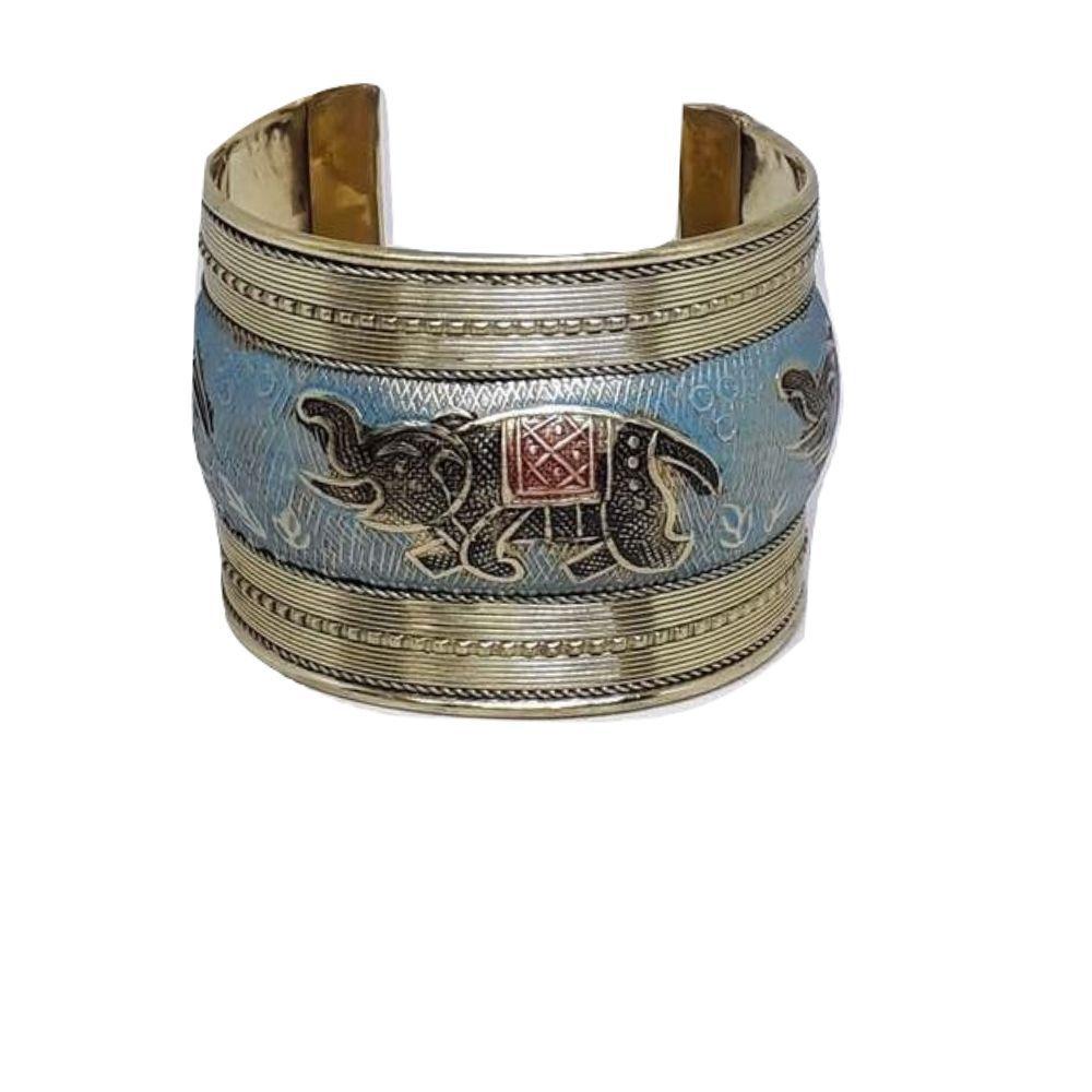 Bracelete Indiano Elefante Alto Relevo