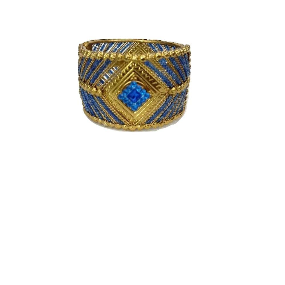 Bracelete Indiano Feminino Dourado Miçanga Azul