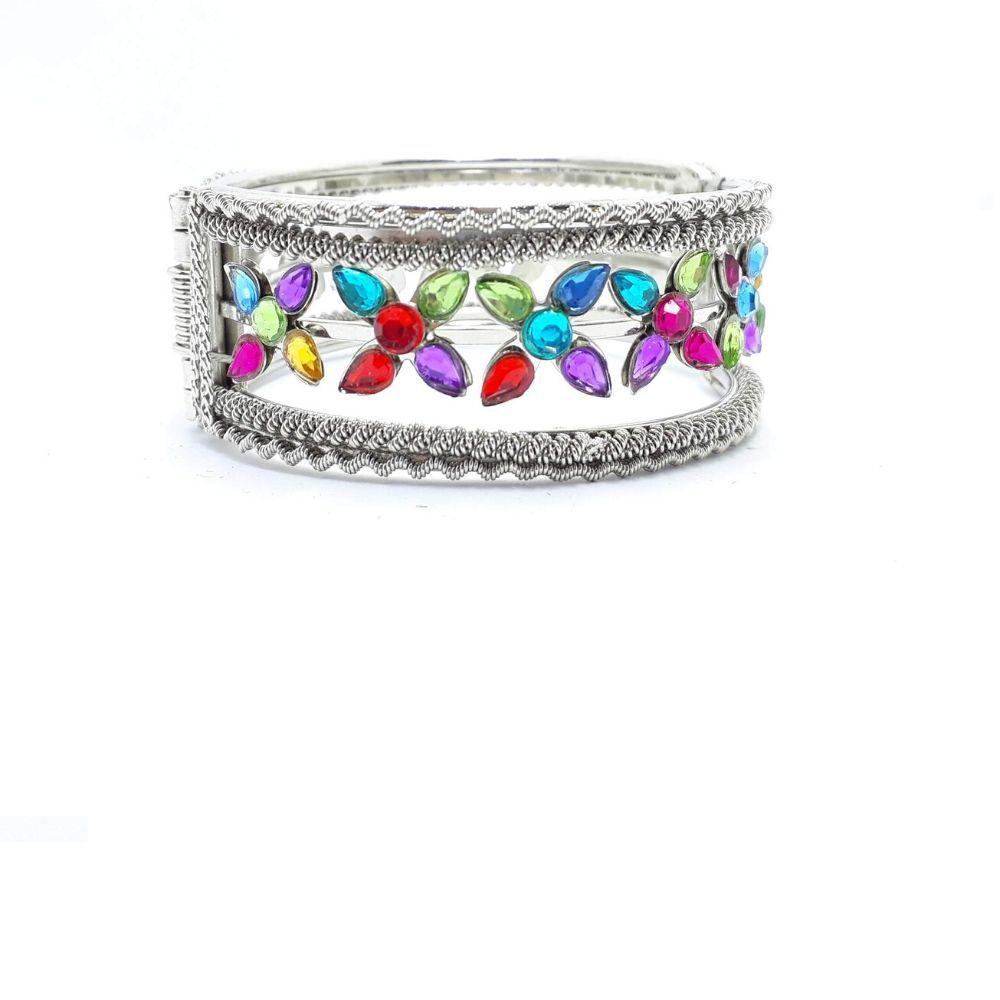 Bracelete Indiano Feminino Prateado Miçanga Coloridas