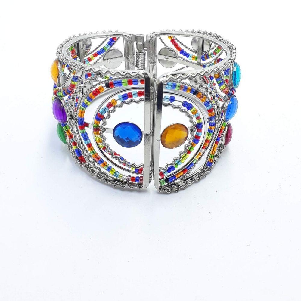 Bracelete Metal Prateado Miçangas Coloridas