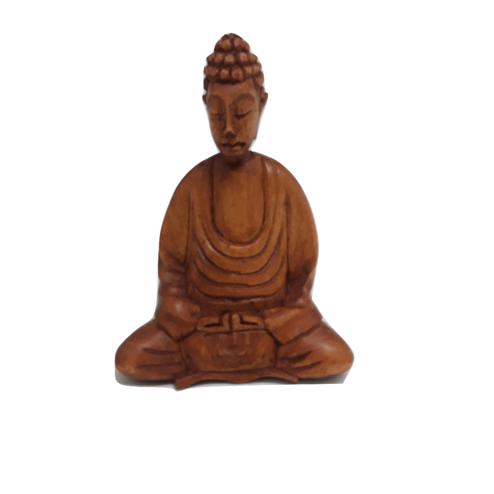 Buda Bali Madeira Entalhada 10Cm